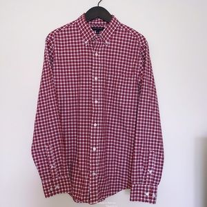 Banana Republic Factory Plaid Red Button Up size L